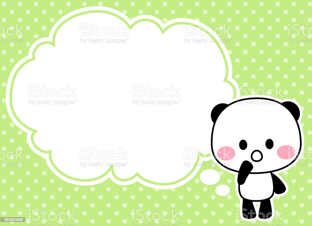 Thinking Panda's character and speech balloon vector art illustration