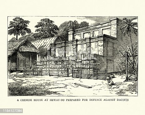 Vintage engraving of Third Anglo-Burmese War, Chinese house at Shway-bo prepared for defence against Dacoits