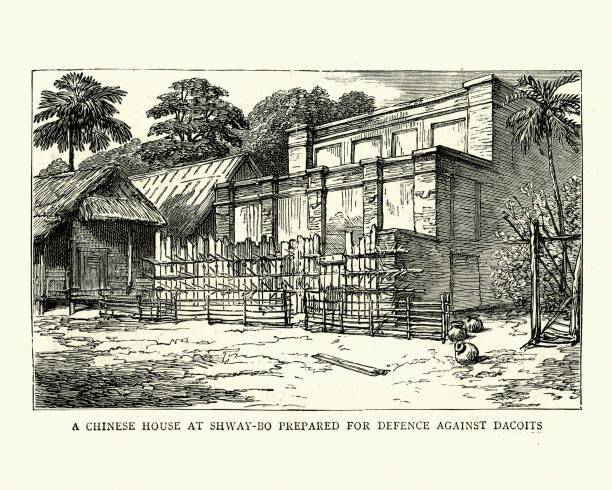 third anglo-burmese war, chinese house at shway-bo - burma home do stock illustrations