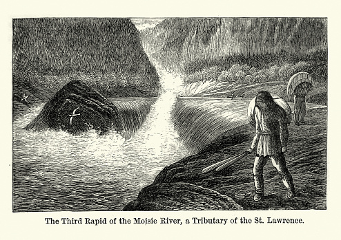 Vintage engraving of Third rapid of the Moisie River, Canada, 19th Century