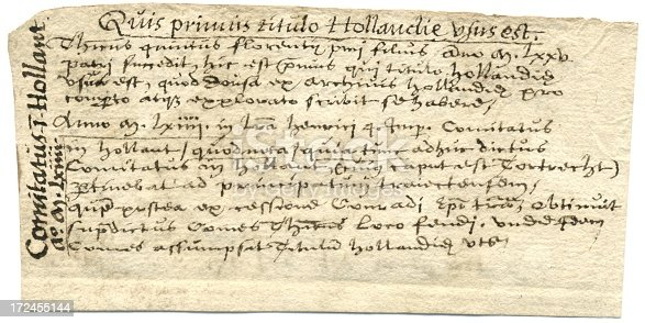 Latin Handwriting County Of Holland 17th Century Writing Stock Vector Art & More Images of 17th Century 172455144