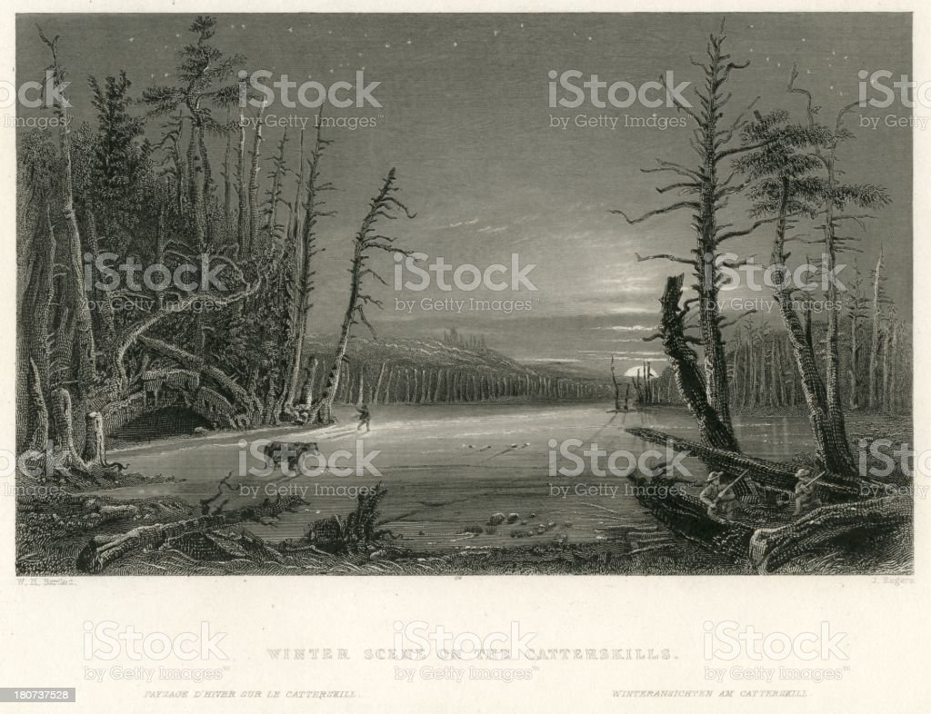 Winter scene on the Catterskills Catskill Mountains antique print vector art illustration