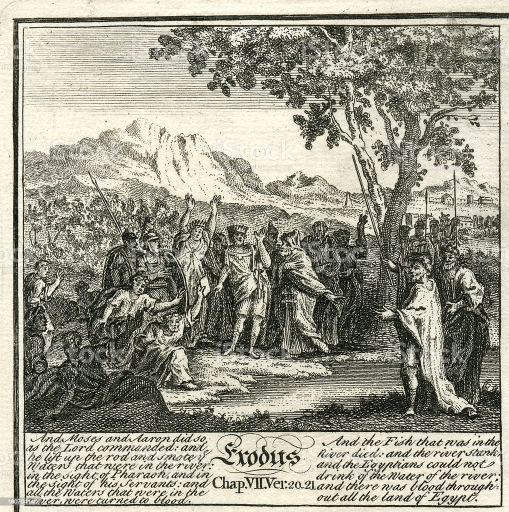 Exodus plagues of Egypt fishes die 18th century bible engraving vector art illustration