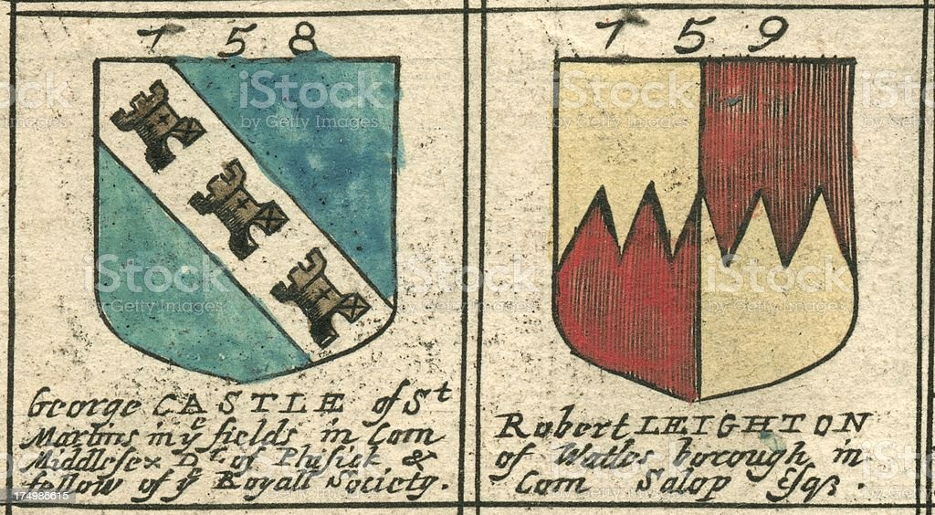 Coat of arms copperplate 17th century Castle and Leighton vector art illustration