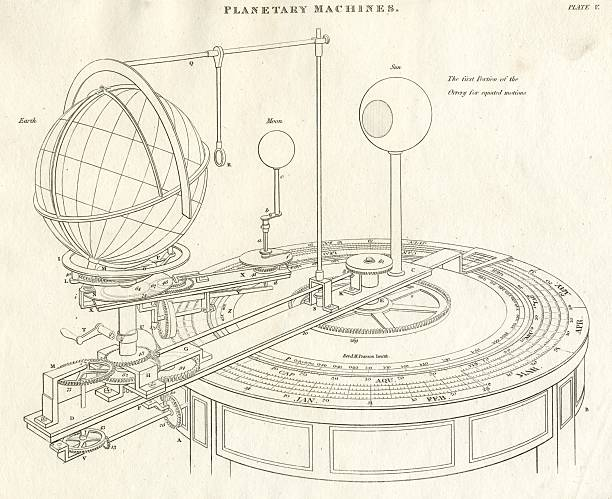 science orrery planets movement 19th century 1818 - whiteway engraving stock illustrations, clip art, cartoons, & icons