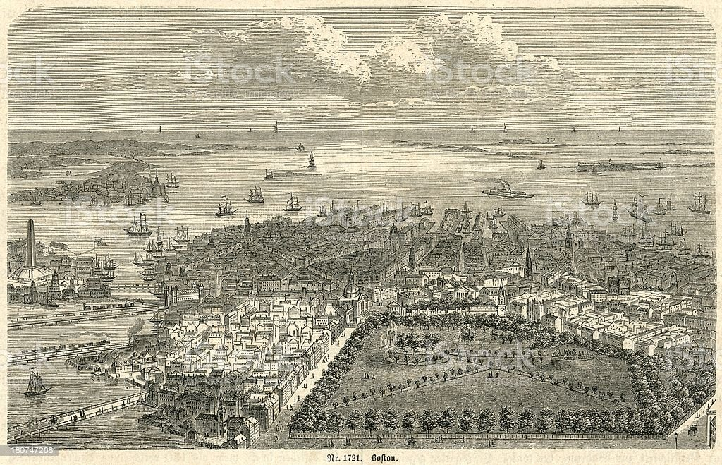 Boston Harbor looking out to sea 19th century engraving royalty-free boston harbor looking out to sea 19th century engraving stock vector art & more images of 1880