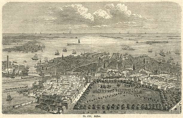 Boston Harbor looking out to sea 19th century engraving This illustration of Boston Harbor, a view looking out to sea, appeared in a German encyclopaedia. At the time of publication the population of Boston was 250,000, which dates this view to 1880 at the latest. Mention of a Newsletter that ceased publication in 1879 confirms this date. Title: Nr. 1721 Boston (This title includes the illustration number.) The features shown include the Bunker Hill Monument (obelisk on the left hand side) with, close by, two of the railway lines that were built to ferry granite to the monument as it was built (1827 - 1843). Amongst the multitude of three-masted sailing ships is one steamship, suggesting (perhaps) a date later than 1870. 1880 stock illustrations