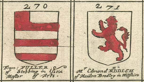Coat of arms copperplate 17th century Fuller and Reddish vector art illustration