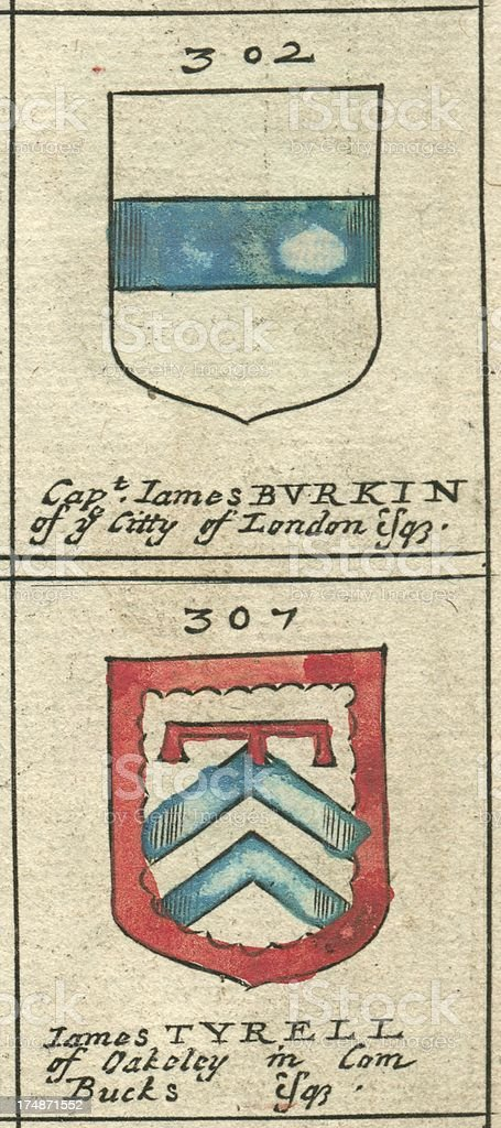 Coat of arms copperplate 17th century Burkin and Tyrell vector art illustration