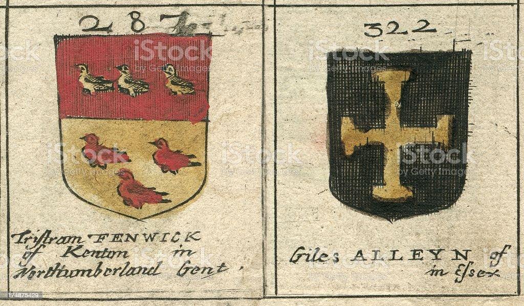 Coat of arms 17th century Fenwick and Alleyn vector art illustration