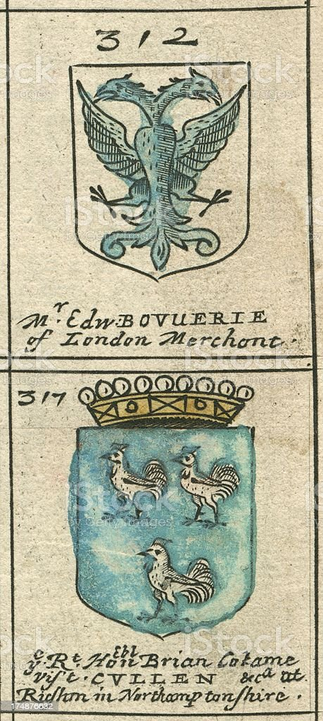 Coat of arms copperplate 17th century Bouverie and Cullen royalty-free coat of arms copperplate 17th century bouverie and cullen stock vector art & more images of 17th century