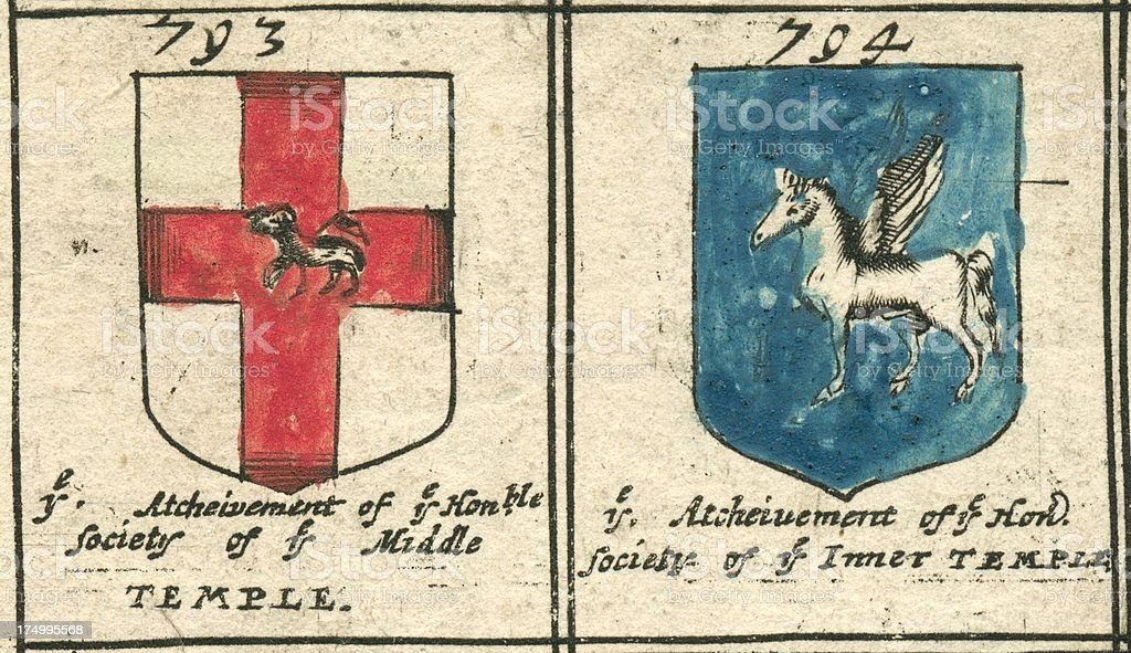 Inns of Court 17th century copperplate armorials vector art illustration