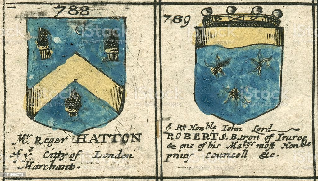 Coat of arms 17th century Hatton and Roberts vector art illustration