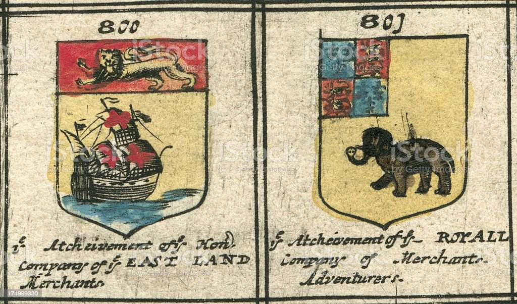 Coat of arms 17th century British company heraldry vector art illustration