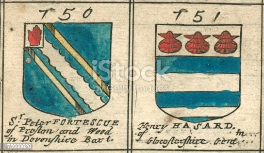 This image is from a copperplate engraving, and shows part of a 'roll of arms' from Richard Blome's (Britannia), an atlas published in 1673. It features the coats of arms of people who contributed towards the completion of the work – starting with King Charles II. Each page includes 35 coats of arms, presented here in pairs. These two coats of arms are from folio (page) 23 of the work. In old English, an 's' appeared as a 'long s' (which looks like an 'f'), while 'ss' appeared as 'fs'. 'Com' was an abbreviation for 'County'. A number is assigned to each benefactor. Here are the accompanying texts (followed by modernised English where appropriate): 750 Sr. Peter FORTESCUE of Prefton and Wood in Devonfhire Bart. (Sir Peter Fortescue of Preston and Wood (Woodleigh) in Devonshire) 751 Henry HASARD of (blank) in Gloufterfhire Gent (Gloucestershire) More from the same coat-of-arms series (many more via blue link): .