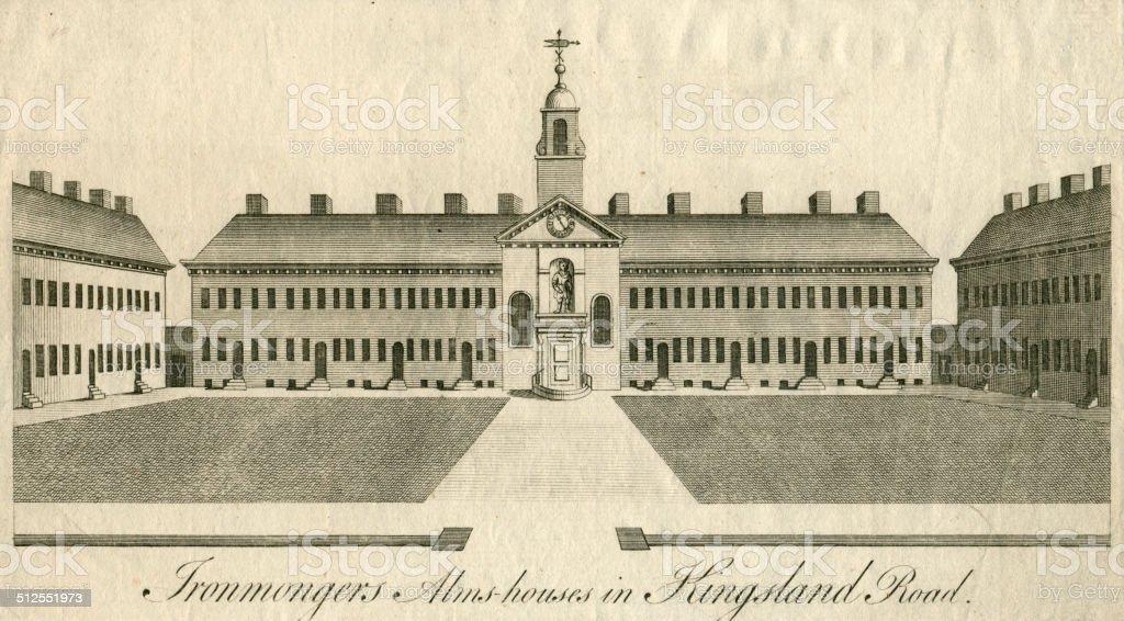 Ironmongers Alms-houses in Kingsland Road 1755 Hackney London vector art illustration