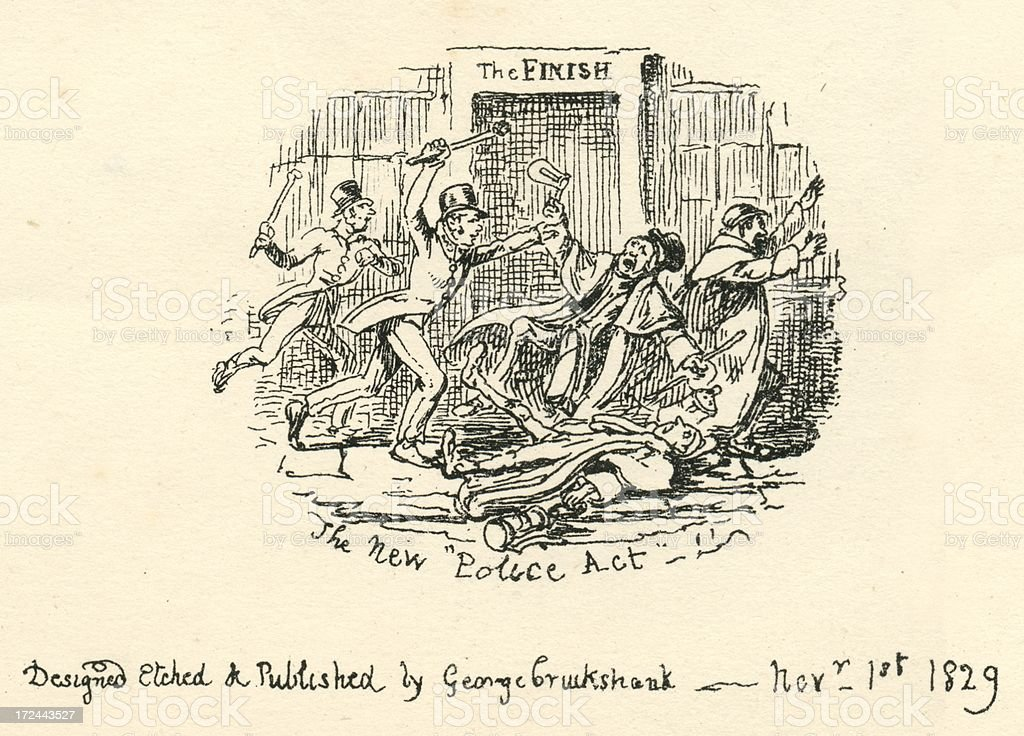 Humour comment The New Police Act 19th century cartoon vector art illustration
