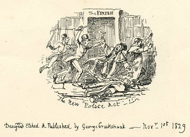 humour comment the new police act 19th century cartoon - whiteway engraving stock illustrations, clip art, cartoons, & icons