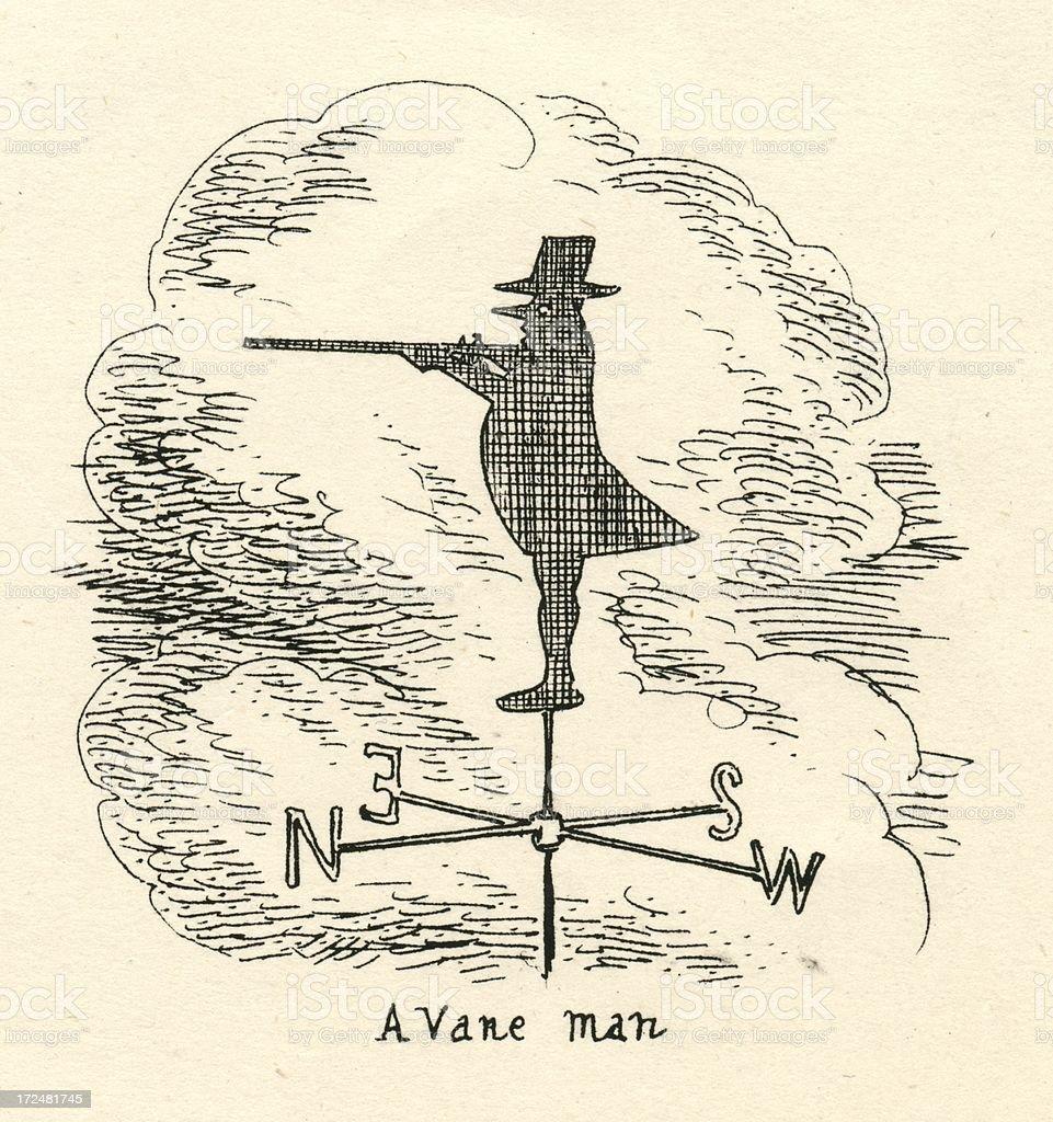 Humour Cruikshank 19th century cartoon a vane man vector art illustration
