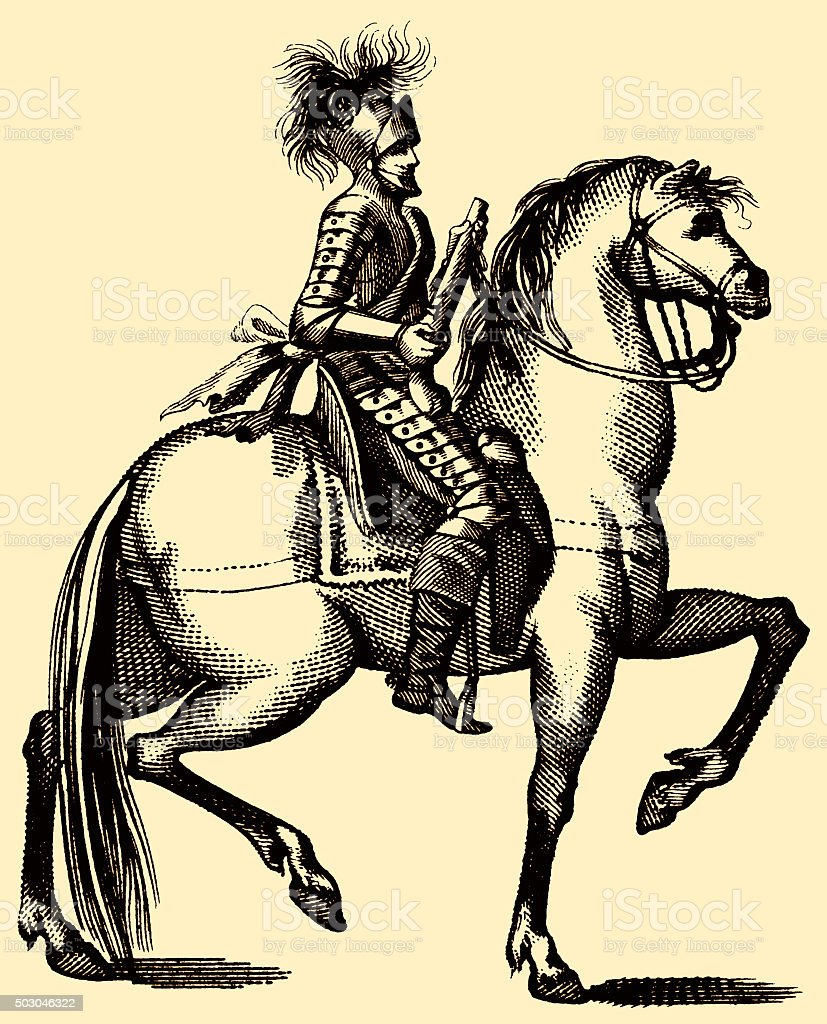 Free your cock harquebusier 17th century cavalry copperplate engraving vector art illustration