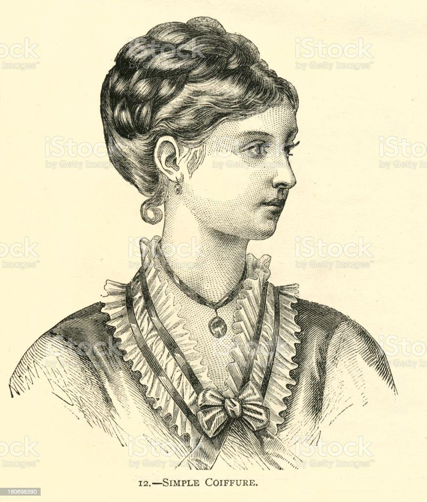 Frisur 19 Jahrhundert Einfachen Coiffure Hübsche Frau Stock Vektor