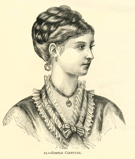 hairstyle 19th century simple coiffure pretty woman - whiteway engraving stock illustrations, clip art, cartoons, & icons