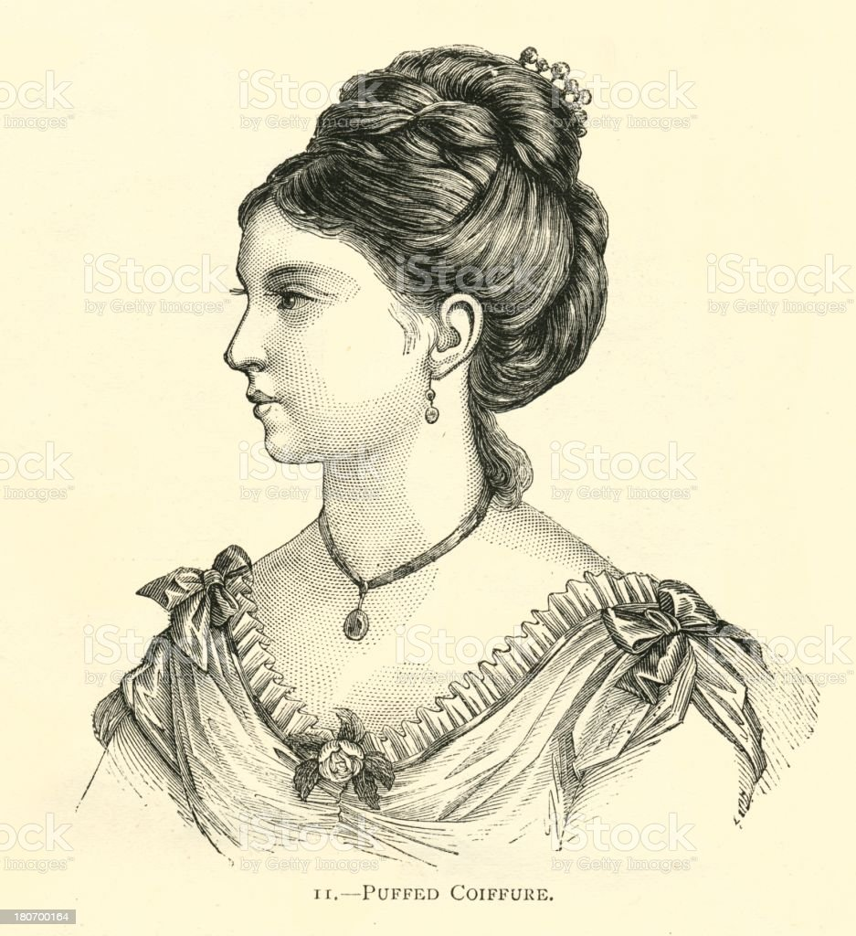 Hairstyle 19th century puffed coiffure pretty woman vector art illustration