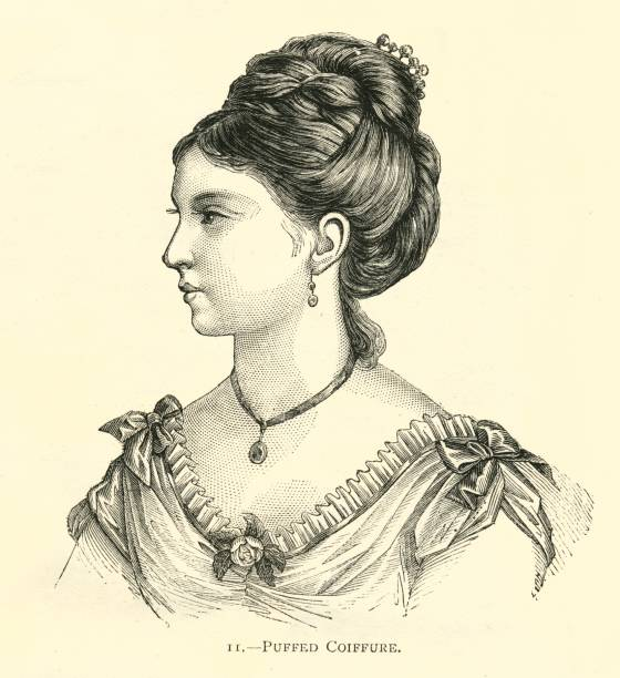 hairstyle 19th century puffed coiffure pretty woman - whiteway engraving stock illustrations, clip art, cartoons, & icons