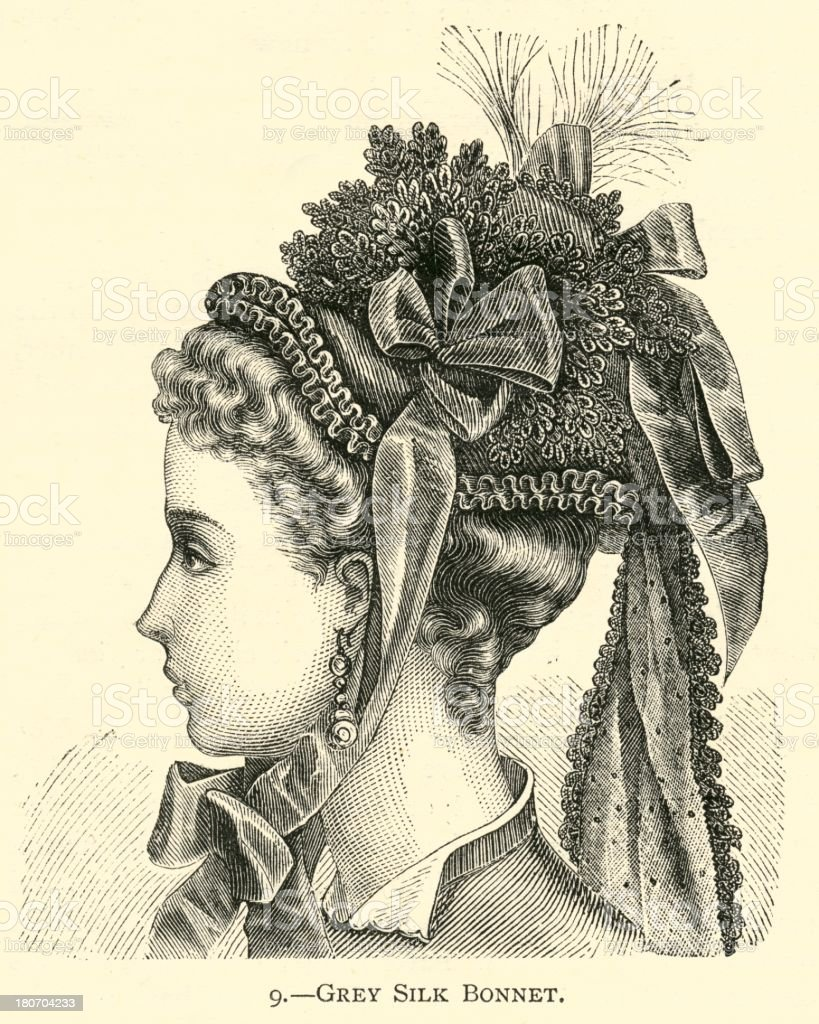 Fashion 19th century grey silk bonnet royalty-free fashion 19th century grey silk bonnet stock vector art & more images of 1873