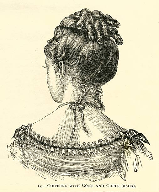 hairstyle 19th century coiffure with comb and curls - whiteway engraving stock illustrations, clip art, cartoons, & icons