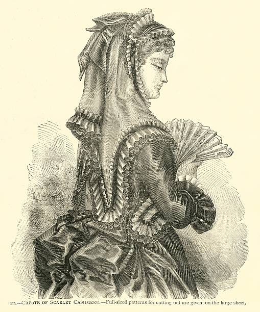fashion 19th century capote of scarlet cashmere - whiteway engraving stock illustrations, clip art, cartoons, & icons