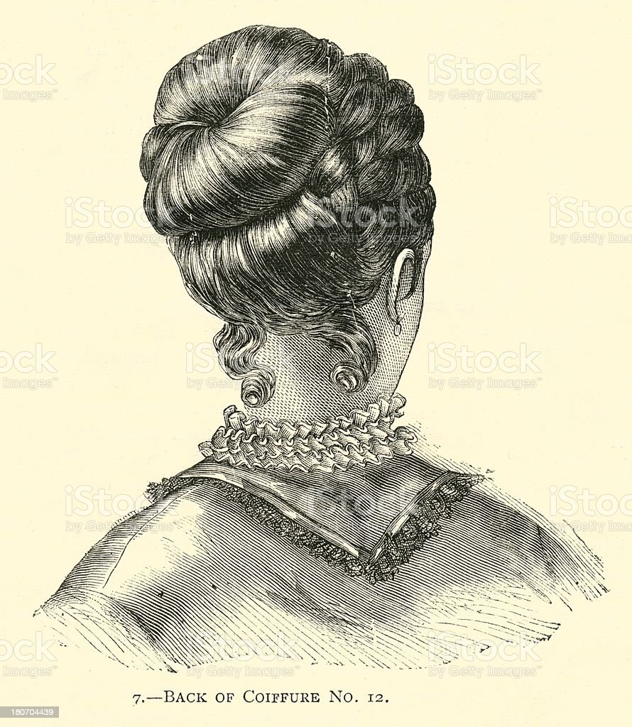 Hairstyle 19th century simple coiffure rear view vector art illustration