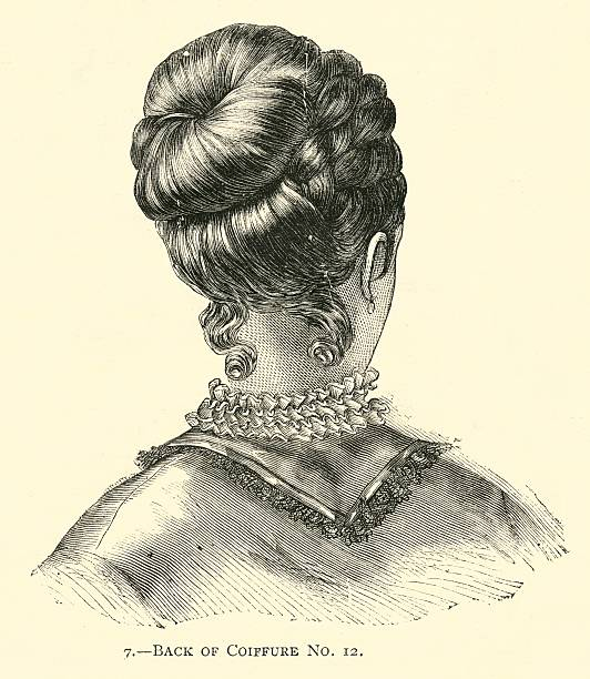 hairstyle 19th century simple coiffure rear view - whiteway engraving stock illustrations, clip art, cartoons, & icons