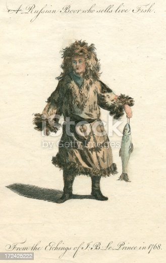 This is a hand-coloured copperplate engraving of a subject visited more than once by French artist J. B. Le Prince – Russian merchants. This one is selling live fish from a tub (shown in another illustration). Captions: A Russian Boor who sells live Fish (Boor is another word for peasant.) From the Etchings of J. B. Le Prince in 1768 Creator: J. B. Le Prince (1734-1781) (Jean-Baptiste Le Prince) Published: London, Printed for the authors by G. Kearsly, 1768, 1773 A variety of other antique and historical people engravings: .