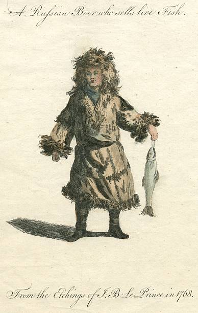russian boor who sells live fish 18th century engraving - whiteway engraving stock illustrations, clip art, cartoons, & icons