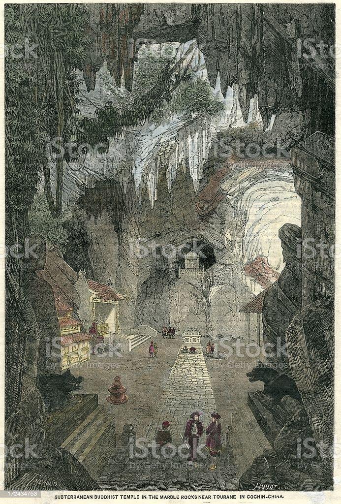 Vietnam Buddhist cave temple wood engraving 1874 vector art illustration