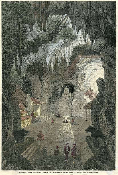 vietnam buddhist cave temple wood engraving 1874 - whiteway engraving stock illustrations, clip art, cartoons, & icons