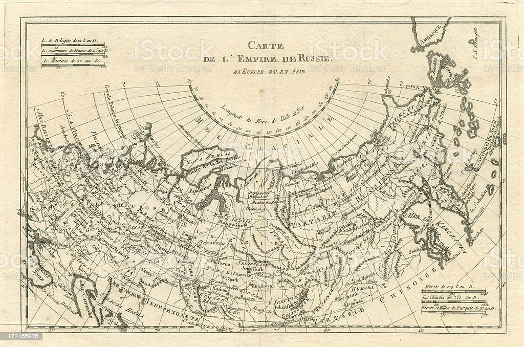 Map of the Russian Empire in Europe and Asia 1780 vector art illustration