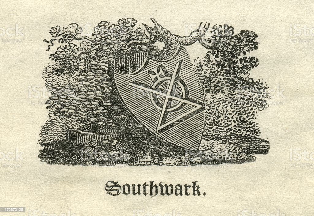 Engraving armorial shield for Southwark 19th century vector art illustration