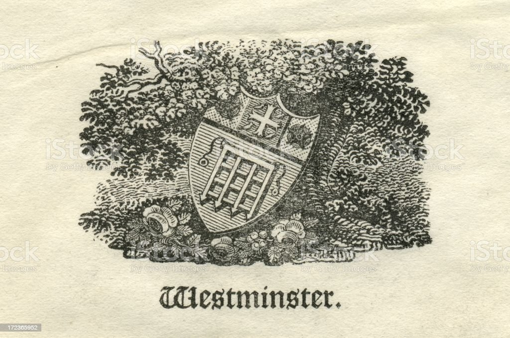 Engraving armorial shield for the City of Westminster 19th century vector art illustration