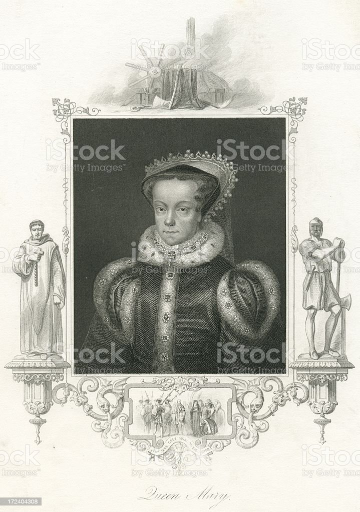 Queen Mary I portrait from 19th century steel engraving royalty-free stock vector art
