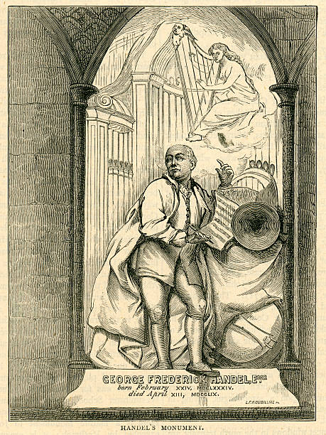 handel's monument westminster abbey composer messiah - whiteway engraving stock illustrations, clip art, cartoons, & icons