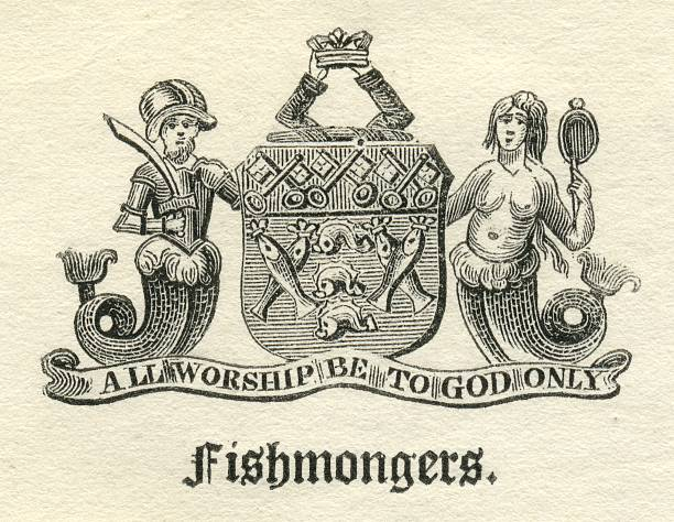 Worshipful Company of Fishmongers armorial vector art illustration