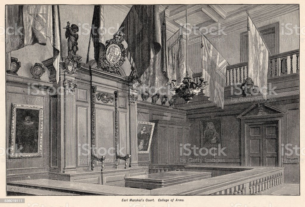 Earl Marshal's Court College Of Arms 1894 vector art illustration