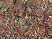 istock Scrolled marbling pattern on antique book endpaper 181954510