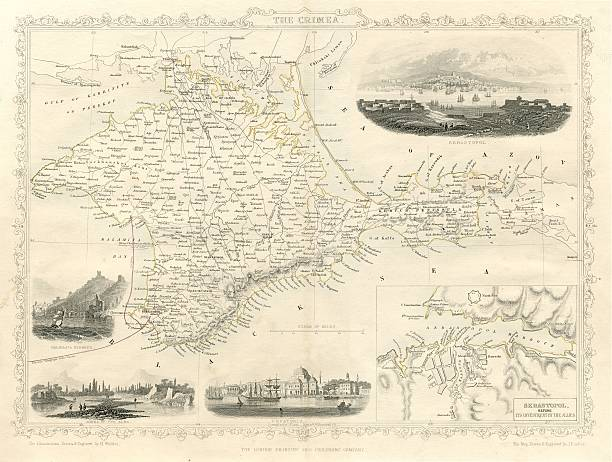 map of the crimea in russia 19th century 1851 - whiteway engraving stock illustrations, clip art, cartoons, & icons