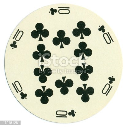 This ten of clubs playing card is in circular form, with six indices around the edge. Most playing cards are rectangular, but some early cards from Persia (Iran) and India were round and used for a game called Ganjifa. The card shown here was produced in, maybe, the 1970s, as a novelty.