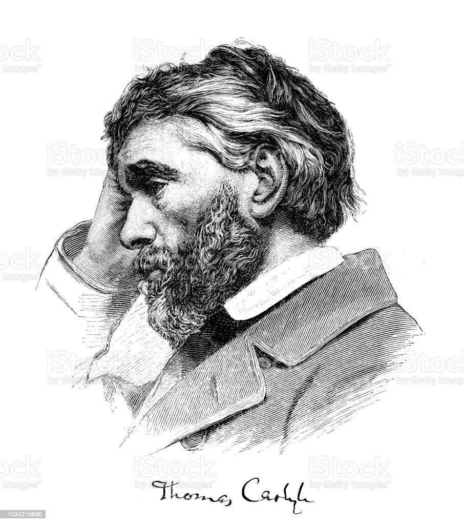 トーマス ・ カーライル (1795-1881 年)、スコットランドのエッセイスト ベクターアートイラスト