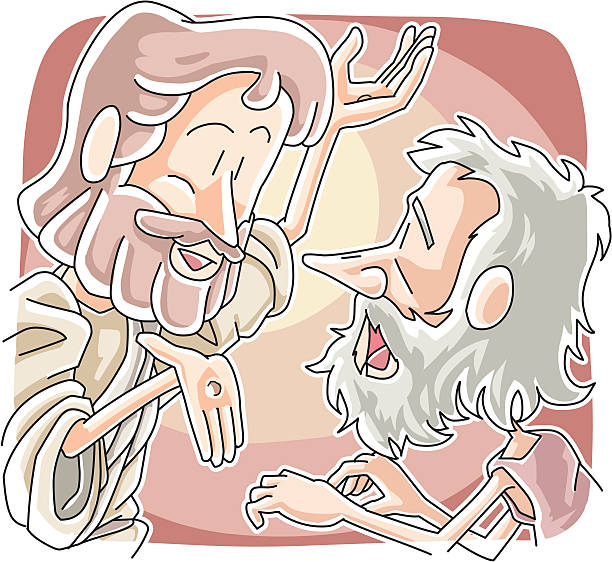 Thomas doubted the resurrection of Jesus vector art illustration