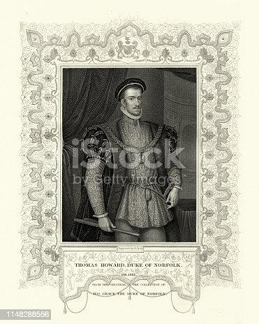 Vintage engraving of Thomas Howard, 4th Duke of Norfolk (10 March 1536 – 2 June 1572) was an English nobleman and politician. Although hailing from a family with strong Catholic leanings, he was raised a Protestant. He was a second cousin of Queen Elizabeth I through her maternal grandmother, and held many high offices during her reign.